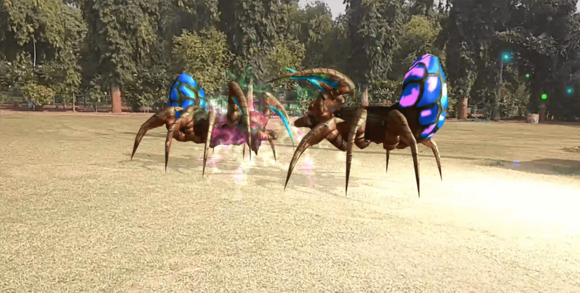 Gigantic spiders are fighting